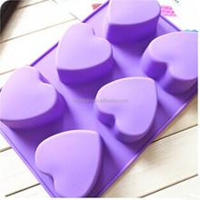 6 gözlü aşk kalp- şekilli diy silikon sabun kalıbı dışında 80-100g