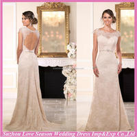 WD7604 Brand new with high quality cap sleeve elegant lace overlayer bow front keyhole back open back slim gown wedding dress