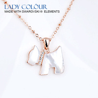 L0596 Pretty Shell Dog Necklaces Zinc Alloy 18K Champagne Gold Rhodium Plated With Austria crystal Imitation Jewelry Wholesale