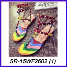 rivet colorful branded ladies fancy sandal