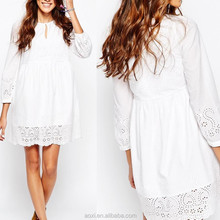White color long sleeve round neckline cute girls mini casual dress