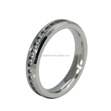 Wedding Sweet Stainless Steel Color Thin Clear Diamond Rings Jewelry