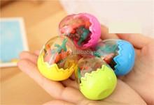 Huevo de dinosaurio borrador de goma ( 1 huevo = 8 unids ), borrador de la historieta, borrador animal