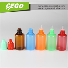 2015 New product!! PE injection blowing10ml e cigarette liquid plastic bottle with child safety and tamper evident cap