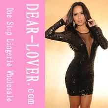 venta al por mayor nuevo shinying negro con las mujeres vestidos de transparente