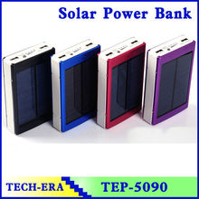CE ROHS solar powerbank 20000mAh dual usb port and LED light solar USB charger