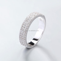 LIXIN 925 sterling silver 3 line cz band ring engagement wedding bands (HT-ZB01)
