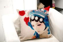 Peking Opera Make Up cotton linen throw pillow