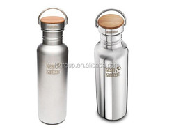 25oz Polished Stainless Steel Reflect Water Bottle with Bamboo Cap,750ml Stainless Steel sport bottle insulated vacuum bottle