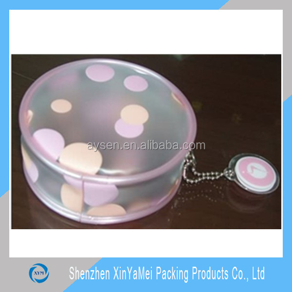 Transparent pvc pouch bag with zipper and printing