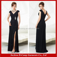 ME-015 Double V neck high slit sexy mother of the bride dresses pics mature mother of the bride dresses