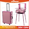 Multilayer Drawers Personalized Custom Barber/Makeup/Beauty/Nail Aluminum Trolley Case With lighted mirror