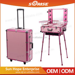 Sunrise Personalized Custom Aluminum Rolling Case, Wholesale Custom Rolling Beauty Barber Case