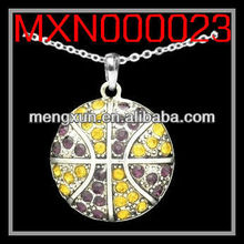 2013 yiwu fashion jewelry alloy silver crystal CABLE NECKLACE - BASKETBALL - PURPLE & GOLD