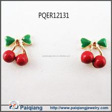 2015 new arrival cherry fruit stud earrings wholesale factory alibaba