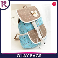 2015 new stylish canvas school bag with dot print for girls
