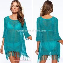 2015 de moda del <span class=keywords><strong>ganchillo</strong></span> Beach Kaftan de las borlas