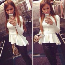 Ladies Long Sleeve O-neck Asymmetric Hem Elastic Waist long Cotton Blouse Tops SV015443