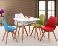 China modern high quality plastic dining room chair and wooden table replica dining room furniture sets for sale