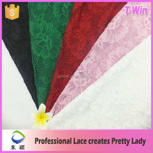 Super quality stretch latest design lace for making dress/nylon spandex lace for women/elastic lace for factory