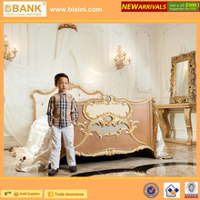 (BK0105-70300)Luxury Prince Kids Bed &Crib/High-end Private Custom Royal Crown Customized Color New Born Wooden Baby Bed