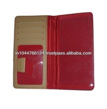 Promotional red leather checkbook wallet / casual leather mens checkbook wallets