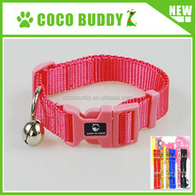 Solid color nylon dog collars OEM decorative dog collars with unique touch-lock clasp