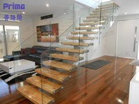 Modern indoor solid wood stair with frameless glass railing price