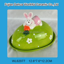 Creative ceramic bread plate with easter rabbit figurine