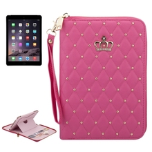 New design Bling Bling Leather flip cover for iPad Air 2