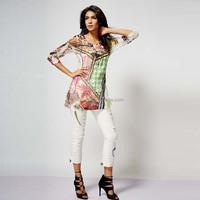 Custom printing OEM design long sleeve women clothing garments 3D t shirts for girls