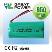 super quanlity 2.4v size AAA500- 800mah nimh battery pack for emergency light