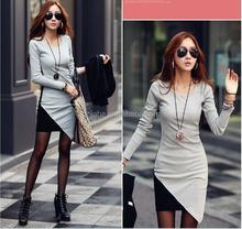 2015 Autumn Winter All-match contrast color cotton dress, women round neck long sleeve patchwork casual dress,dresses women