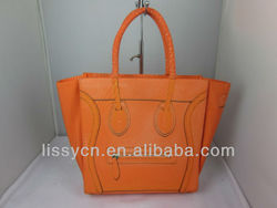 2013 new designed grinning face polyester tote bag
