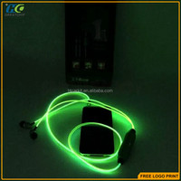 Sport Visible Flowing EL Glow Flash Light Stereo Earphone For Smart phone