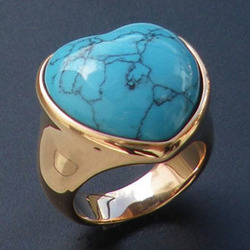 turquoise rings stainless steel jewelry plate gold jewelry