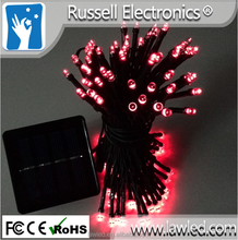 10 meters 100 lamp beads dark green wire LED christmas lighting red color solar cell lights