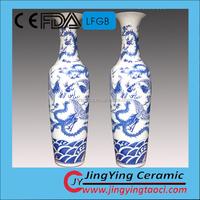 1.8m high grade big blue and white jingdezhen chinese ceramic porcelain dragon painted flower vase