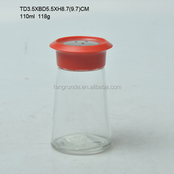 POPULAR BEST SELLER EXCELLENT QUALITY SPECIAL SHAPED GLASS SPICE JAR CRUET BOTTLE WITH METAL OR PLASTIC COVER