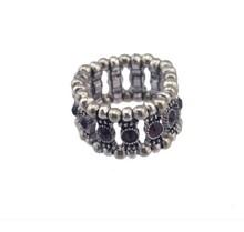 Personalized Vintage Silver Crystal Adjustable Finger Ring
