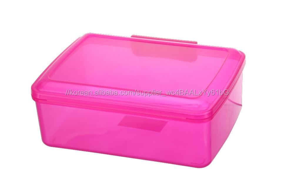 중국어 공장 OEM 가정용 대형 투명 플라스틱 다목적 저장 상자 힌지 뚜껑
