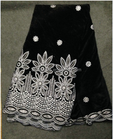 Heavy embroidery george Africa velvet lace black lace fabric with sequins