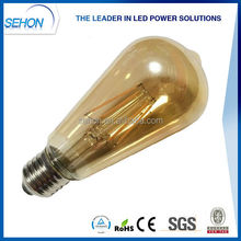 christmas decoration classic vintage st64 bulb with amber glass cover/st64 dimmable filament bulb