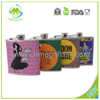 18/8 FDA Stainelss Steel Hip Flask with All Over Transferring Logo