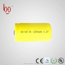 Small nickel cadmium 1.2V ni cd sc 1200mah rechargeable battery for torch light