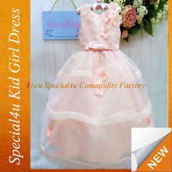 Pink children long frock design fluffy girls dress smocked CDT-357