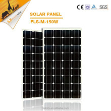 Rack adjustable A grade cells 150w mono solar panel with CE SGS certification