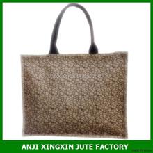 Speciasl design woman resuable waterproof tote jute burlap shopping bag with zipper sealing