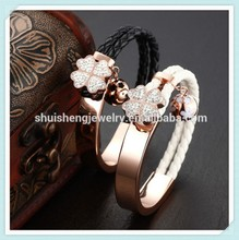 European weave rose gold crystal women leather bracelet wholesale