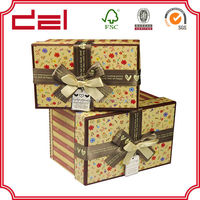 New design fabric covered storage boxes with lid for sale